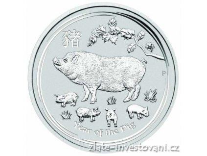 Investiční stříbrná  mince rok Vepře 2019 1/2 Oz