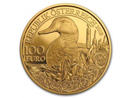 Zlatá mince 100 Eur-Kachna divoká-rakouská série Wild life 2018 1/2 Oz