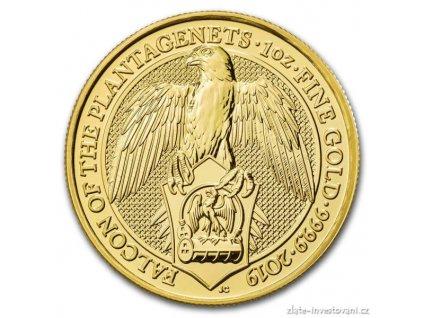 Zlatá mince sokol královny Anglie-Queen´s beasts