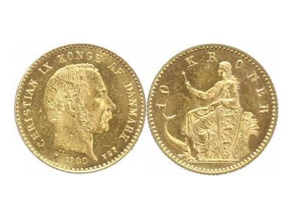 Zlatá dánská 10 koruna Christian IX.