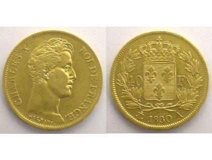 Zlatý francouzský čtyřicetifrank Charles X.