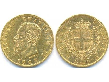 Zlatá mince 20 lira Vittorio Emanuele II. 1863