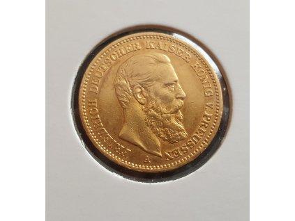 zlatá pruská Dvacetimarka Friedrich III. 1888