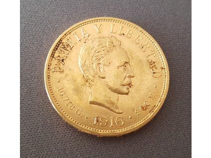 Zlatá mince 10 pesos Kuba-1916
