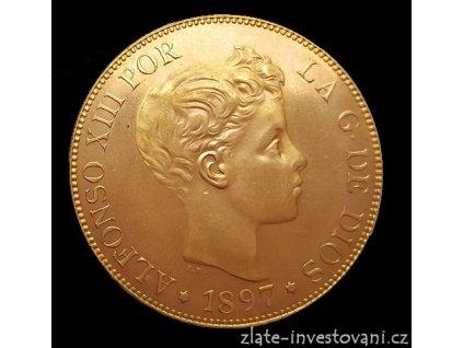 Zlatá mince 100 peset-Alfonso VIII. 1897-1962