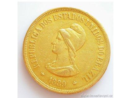 Zlatý brazilský 20 000 reál-1889-první republika