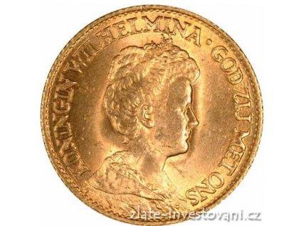 Zlatá mince 10 guldenů-Wilhelmina 1925