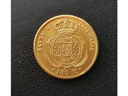 Zlatá mince 10 eskudos -královna Isabela II. 1865-1868