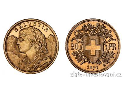 Investiční zlatá mince švýcarský 20 frank-Vrenelli 1897