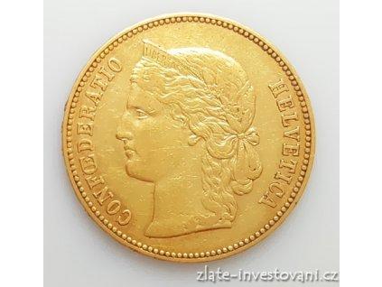 Zlatá mince švýcarský 20 frank-Helvetica 1886