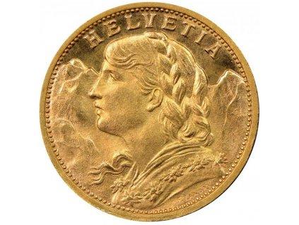Investiční zlatá mince švýcarský 20 frank-Vrenelli 1922