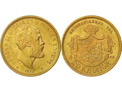 Zlatá mince švédská dvacetikoruna-20 kronor Oskar II.