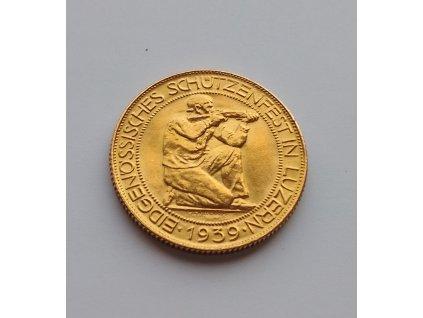 Zlatý střelecký 100 frank 1939