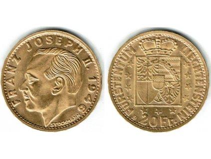 Zlatý 20 frank Franz Josef II. 1946-Lichnštejnsko