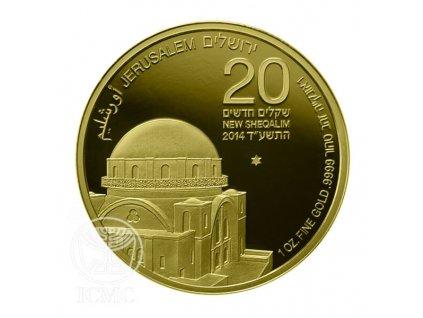 Investiční zlatá mince synagoga Hurva-2014