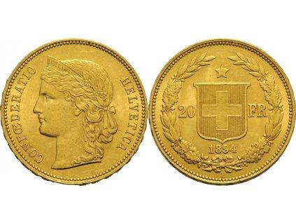 Zlatá mince švýcarský 20 frank-Helvetica 1894
