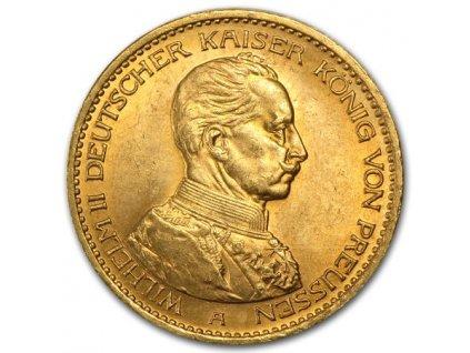 Zlatá mince pruská 20 marka-Wilhelm II. král pruský 1913