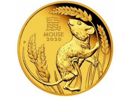 Zlatá mince rok krysy 2020 1 Oz proof-lunární série III.