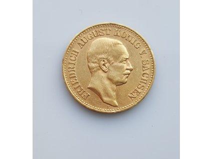 Zlatá 20 marka Friedrich Agust III.