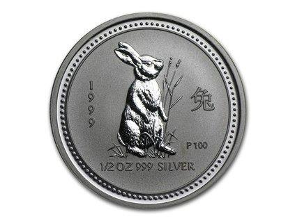 Stříbrná mince rok králíka 1/2 Oz 1999