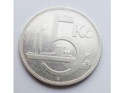 Stříbrná 5 koruna československá 1929