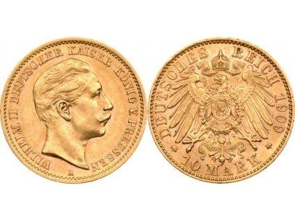 Zlatá 10 marka Wilhelm II. 1909A