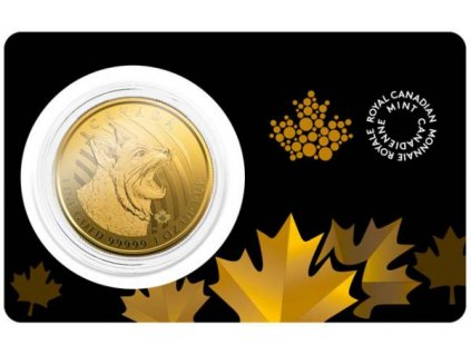 Investiční zlatá mince Rys 2020-série Wild life Kanada 1 Oz