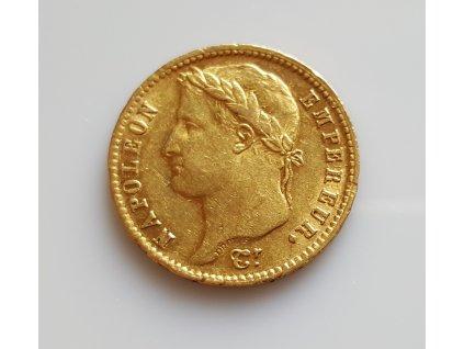 Zlatý francouzský 20 frank Napoleon I. imperátor-vavřín