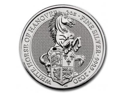 Stříbrná investiční mince 2 Oz White horse of Hanover 2020