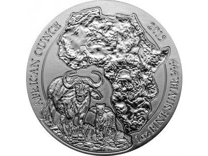 Stříbrná investiční mince buvol 1 Oz 2015-Ruanda