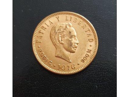 Zlatá mince 5 pesos Kuba-1916