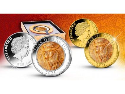 Zlatá mince rok býka 2021-5 Oz proof s perletí