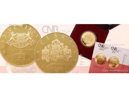 6884 1 zlata mince 1 oz 100 vyroci ceskoslovenska 10 000 korun mimoradna razba