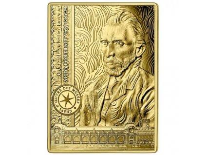 Moderní zlatá mince Selfportrait van Gogh proof 2020
