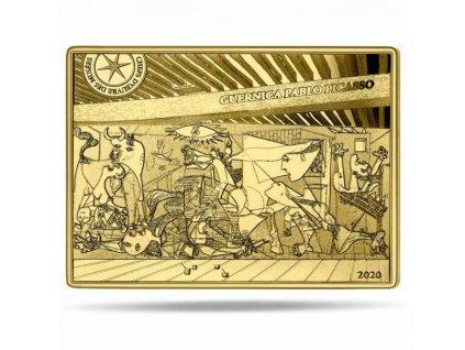 Moderní zlatá mince Guernica Picasso proof 2020 7.78g