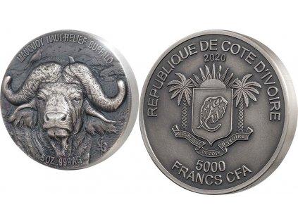 Stříbrná mince Buvol vodní 5 Oz 2020-Big Five