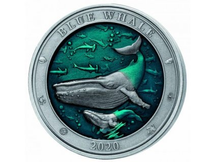 Stříbrná moderní mince Blue Whale 3 Oz 2020
