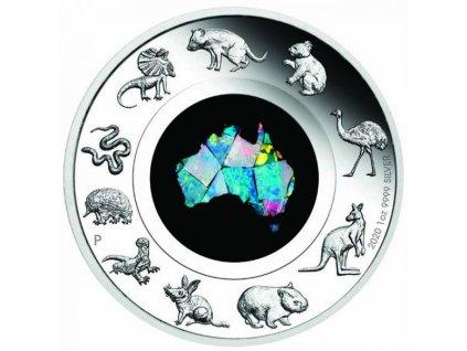 Stříbrná moderní mince Great Southern Land Opal 1 Oz 2020 proof