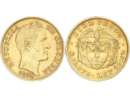 Zlatá mince 10 peso 1919-Kolumbie
