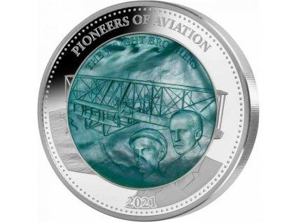 Stříbrná moderní mince Pioneers of Aviation 5 Oz 2021 proof
