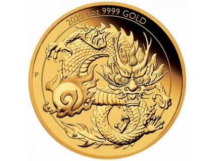 Zlatá moderní mince Drak 1 Oz proof 2020