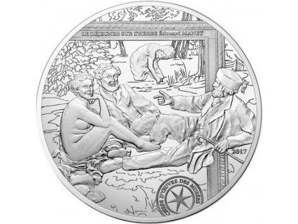 Stříbrná moderní mince Snídaně v trávě 22.2g proof 2017