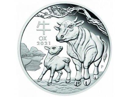 Stříbrná mince rok býka 2021 1 Oz-proof