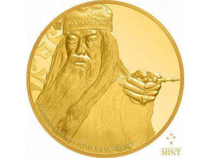 Zlatá moderní mince Albus Brumbál proof 2020