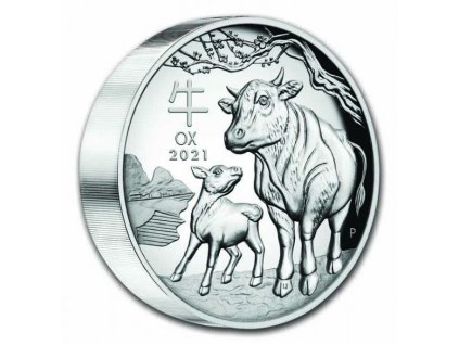 Stříbrná mince rok býka 2021-5 Oz -lunární série III.