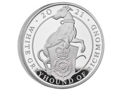 Stříbrná mince White greyhound 5 Oz proof 2021-Queen´s beasts