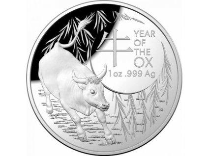 Stříbrná moderní mince Lunar Ox 1 Oz proof 2021