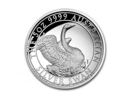 Moderní stříbrná mince Australská Labuť 5 Oz 2020 proof
