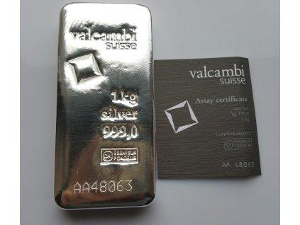 Stříbrná investiční cihla Valcambi1 kg