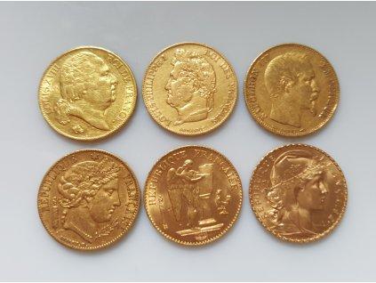 Zlatý set šesti francouzských 20 franků